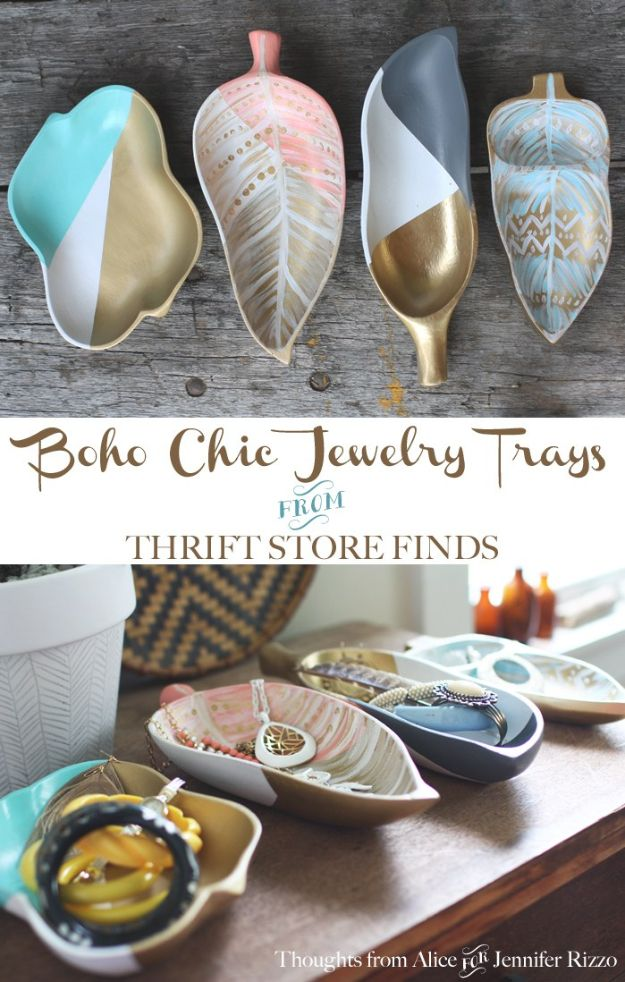 Thrift Store DIY Makeovers - Boho Chic Jewelry Tray - Decor and Furniture With Upcycling Projects and Tutorials - Room Decor Ideas on A Budget - Crafts and Decor to Make and Sell - Before and After Photos - Farmhouse, Outdoor, Bedroom, Kitchen, Living Room and Dining Room Furniture http://diyjoy.com/thrift-store-makeovers
