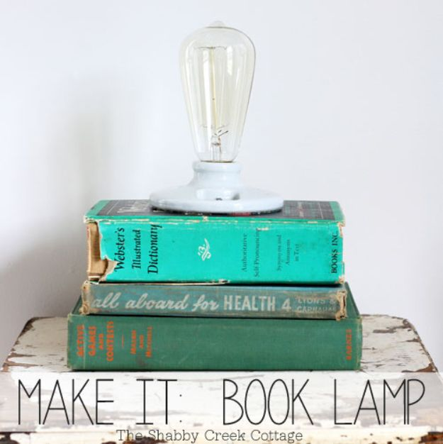 Cheap DIY Gift Ideas - Book Lamp - List of Handmade Gifts on A Budget and Inexpensive Christmas Presents - Do It Yourself Gift Idea for Family and Friends, Mom and Dad, For Guys and Women, Boyfriend, Girlfriend, BFF, Kids and Teens - Dollar Store and Dollar Tree Crafts, Home Decor, Room Accessories and Fun Things to Make At Home http://diyjoy.com/cheap-diy-gift-ideas