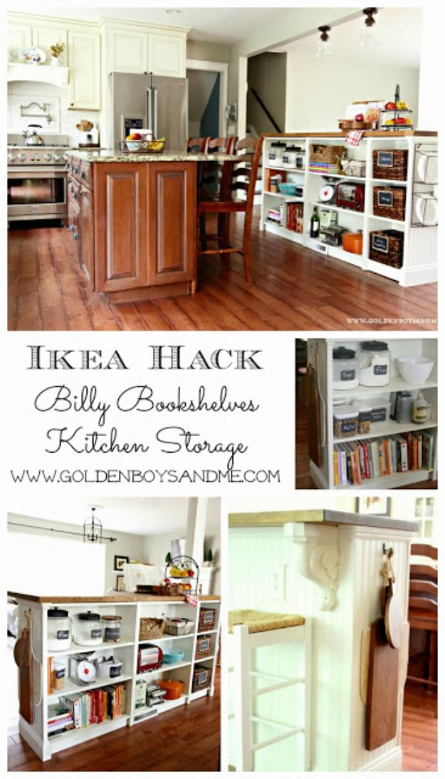IKEA Hacks for Your Kitchen - Bookshelves Turned Kitchen Island Ikea Hack - DIY Furniture and Kitchen Accessories Made from IKEA - Kitchen Islands, Cabinets, Table, Pantry Organization, Storage, Shelves and Counter Solutions - Bar, Buffet and Entertaining Ideas - Easy Projects With Step by Step Tutorials and Instructions to Hack IKEA items #ikea #ikeahacks #diyhomedecor #diyideas #diykitchen