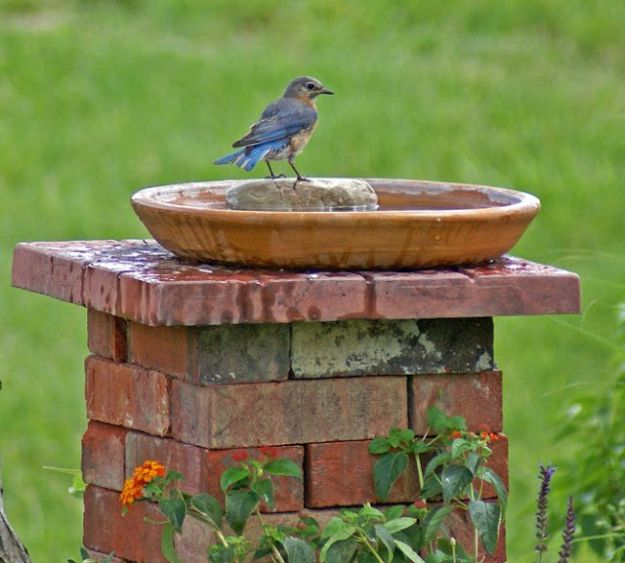 DIY Ideas With Bricks - Brick Birdbath - Home Decor and Creative Do It Yourself Projects to Make With Bricks - Ideas for Patio, Walkway, Fireplace, Firepit, Mantle, Grill and Art - Inexpensive Decoration Tutorials With Step By Step Instruction for Brick DIY http://diyjoy.com/diy-ideas-bricks
