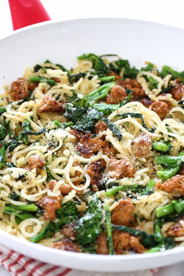 Veggie Noodle Recipes - Broccoli Rabe and Sausage Parsnip Spiralized Pasta - How to Cook With Veggie Noodles - Healthy Pasta Recipe Ideas - How to Make Veggie Noodles With Carrots and Zucchini - Vegan, Vegetarian , Keto and Low Carb Dishes for Your Diet - Meatballs, Chicken, Cheese, Asian Stir Fry, Salad and Raw Preparations #veggienoodles #recipes #keto #lowcarb #ketorecipes http://diyjoy.com/veggie-noodle-recipes