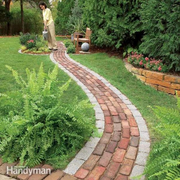 DIY Ideas With Bricks - Build a Brick Pathway in the Garden - Home Decor and Creative Do It Yourself Projects to Make With Bricks - Ideas for Patio, Walkway, Fireplace, Firepit, Mantle, Grill and Art - Inexpensive Decoration Tutorials With Step By Step Instruction for Brick DIY http://diyjoy.com/diy-ideas-bricks