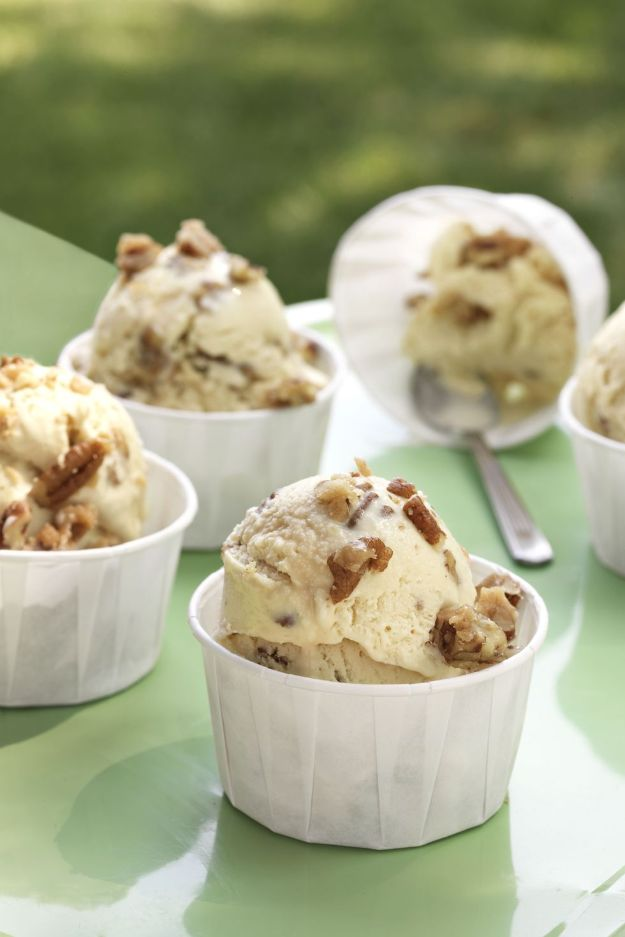Homemade Ice Cream Recipes - Butter Pecan Ice Cream - How To Make Homemade Ice Cream At Home - Recipe Ideas for Making Vanilla, Chocolate, Strawberry, Caramel Ice Creams - Step by Step Tutorials for Easy Mixes and Dairy Free Options - Cuisinart and Ice Cream Machine, No Churn, Mix in A Bag and Mason Jar - Healthy and Keto Diet Friendly #recipes #icecream