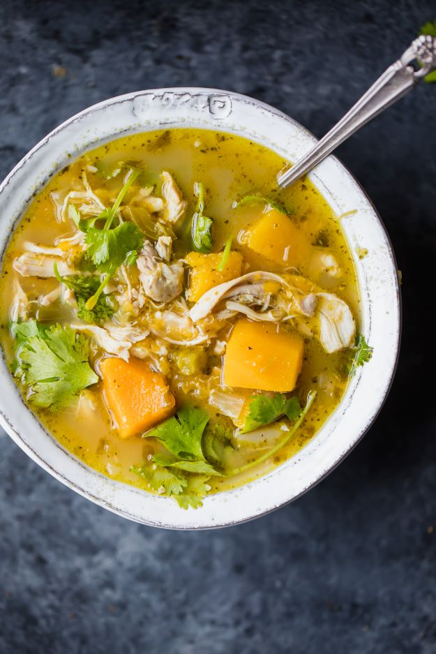 Easy Healthy Chicken Recipes - Butternut Squash Green Chile Chicken Soup - Lunch and Dinner Ideas, Party Foods and Casseroles, Idea for the Grill and Salads- Chicken Breast, Baked, Roastedf and Grilled Chicken #recipes #healthy #chicken
