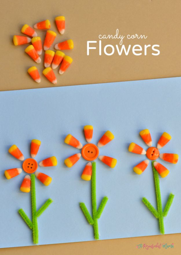 Fun Fall Crafts for Kids - Candy Corn Flowers - Cool Crafts Ideas for Kids to Make With Paper, Glue, Leaves, Corn Husk, Pumpkin and Glitter - Halloween and Thanksgiving - Children Love Making Art, Paintings, Cards and Fall Decor - Placemats, Place Cards, Wall Art , Party Food and Decorations for Toddlers, Boys and Girls #fallcrafts #kidscrafts #kids