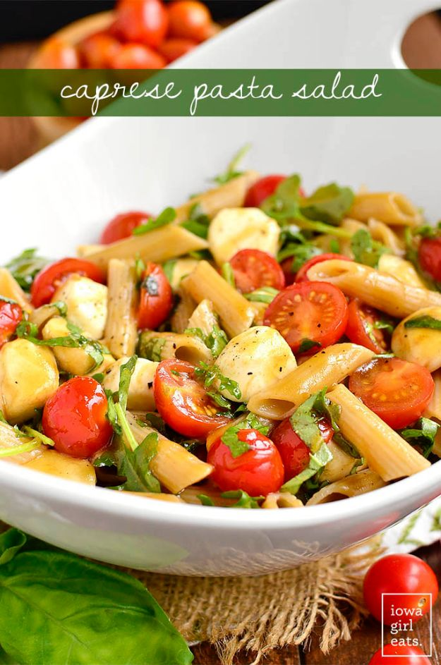 Best Pasta Recipes - Caprese Pasta Salad - Easy Pasta Recipe Ideas for Dinner, Lunch and Party Foods - Healthy and Easy Pastas With Shrimp, Beef, Chicken, Sausage, Tomato and Vegetarian - Creamy Alfredo, Marinara Red Sauce - Homemade Sauces and One Pot Meals for Quick Prep - Penne, Fettucini, Spaghetti, Ziti and Angel Hair http://diyjoy.com/pasta-recipes