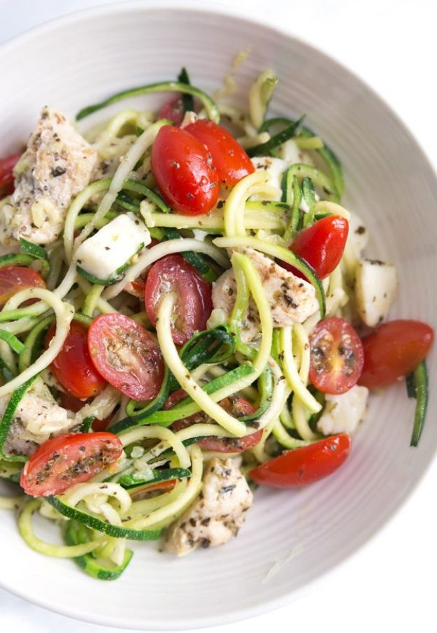 Veggie Noodle Recipes - Caprese Zoodle Bowls - How to Cook With Veggie Noodles - Healthy Pasta Recipe Ideas - How to Make Veggie Noodles With Carrots and Zucchini - Vegan, Vegetarian , Keto and Low Carb Dishes for Your Diet - Meatballs, Chicken, Cheese, Asian Stir Fry, Salad and Raw Preparations #veggienoodles #recipes #keto #lowcarb #ketorecipes http://diyjoy.com/veggie-noodle-recipes