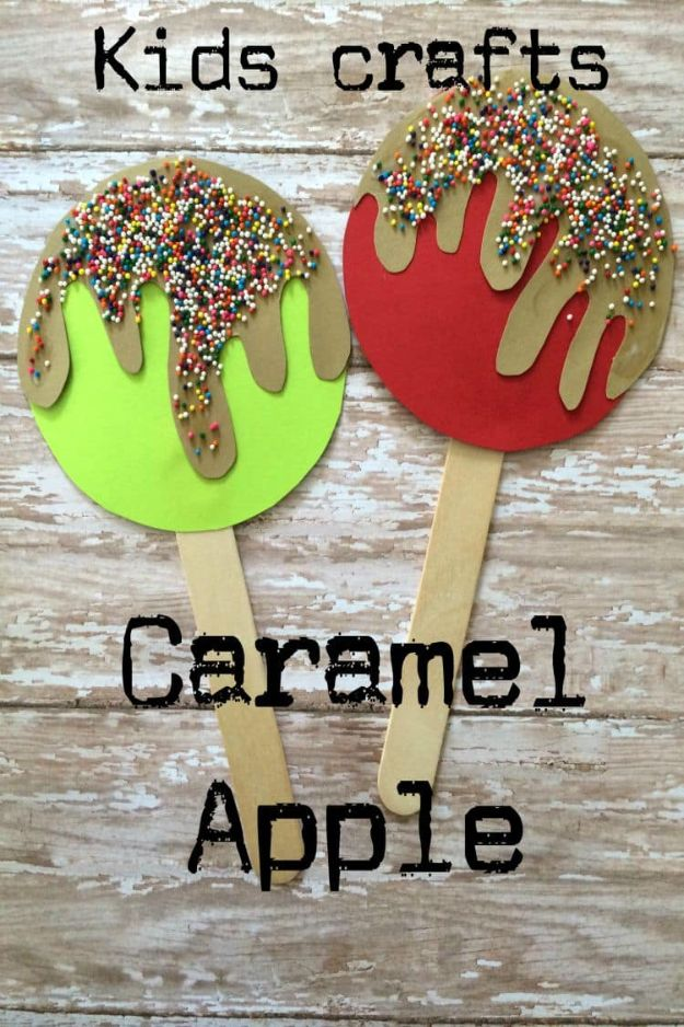 Fun Fall Crafts for Kids - Caramel Apple Popsicle Craft - Cool Crafts Ideas for Kids to Make With Paper, Glue, Leaves, Corn Husk, Pumpkin and Glitter - Halloween and Thanksgiving - Children Love Making Art, Paintings, Cards and Fall Decor - Placemats, Place Cards, Wall Art , Party Food and Decorations for Toddlers, Boys and Girls http://diyjoy.com/fun-fall-crafts-kids