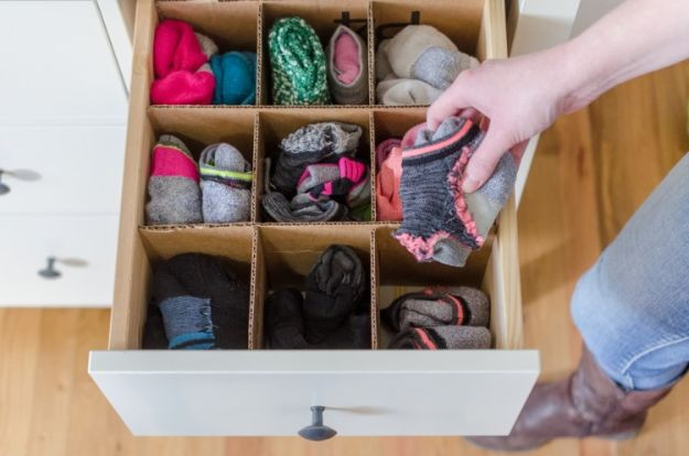 Organizing Ideas for Your Life - Cardboard Drawer Dividers - Easy Crafts and Cool Ideas for Getting Organized - Best Ways to Get Organized - Things to Make for Being More Efficient and Productive - DIY Storage, Shelving, Calendars, Planning #organizing