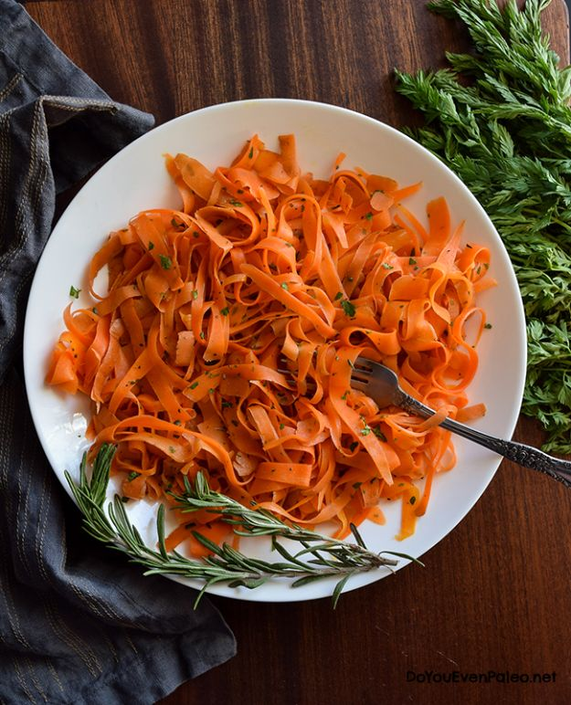 Veggie Noodle Recipes - Carrot Ribbons with Rosemary Butter Sauce - How to Cook With Veggie Noodles - Healthy Pasta Recipe Ideas - How to Make Veggie Noodles With Carrots and Zucchini - Vegan, Vegetarian , Keto and Low Carb Dishes for Your Diet - Meatballs, Chicken, Cheese, Asian Stir Fry, Salad and Raw Preparations #veggienoodles #recipes #keto #lowcarb #ketorecipes http://diyjoy.com/veggie-noodle-recipes