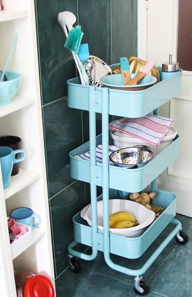 IKEA Hacks for Your Kitchen - Cart Rescue In The Kitchen - DIY Furniture and Kitchen Accessories Made from IKEA - Kitchen Islands, Cabinets, Table, Pantry Organization, Storage, Shelves and Counter Solutions - Bar, Buffet and Entertaining Ideas - Easy Projects With Step by Step Tutorials and Instructions to Hack IKEA items #ikea #ikeahacks #diyhomedecor #diyideas #diykitchen