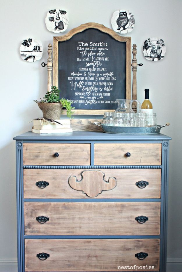 Thrift Store DIY Makeovers - Chalkboard Dresser Buffet - Thrifty Under $50 - Decor and Furniture With Upcycling Projects and Tutorials - Room Decor Ideas on A Budget - Crafts and Decor to Make and Sell - Before and After Photos - Farmhouse, Outdoor, Bedroom, Kitchen, Living Room and Dining Room Furniture http://diyjoy.com/thrift-store-makeovers