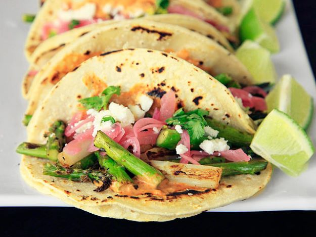Asparagus Recipes - Charred Asparagus Tacos With Creamy Adobo and Pickled Red Onions - DIY Asparagus Recipe Ideas for Homemade Soups, Sides and Salads - Easy Tutorials for Roasted, Sauteed, Steamed, Baked, Grilled and Pureed Asparagus - Party Foods, Quick Dinners, Dishes With Cheese, Vegetarian and Vegan Options - Healthy Recipes With Step by Step Instructions http://diyjoy.com/asparagus-recipes