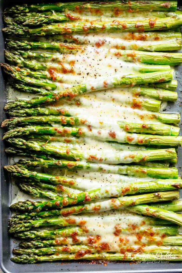 Asparagus Recipes - Cheesy Garlic Roasted Asparagus - DIY Asparagus Recipe Ideas for Homemade Soups, Sides and Salads - Easy Tutorials for Roasted, Sauteed, Steamed, Baked, Grilled and Pureed Asparagus - Party Foods, Quick Dinners, Dishes With Cheese, Vegetarian and Vegan Options - Healthy Recipes With Step by Step Instructions http://diyjoy.com/asparagus-recipes