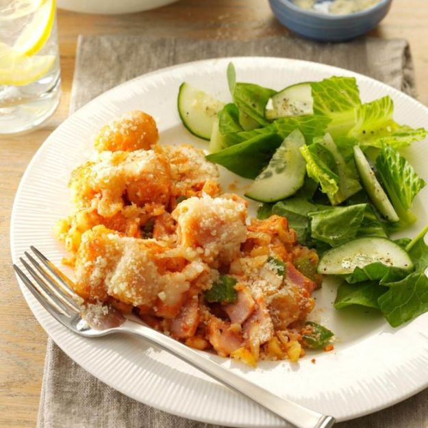Easy Dinner Recipes - Cheesy Tater Tots & Canadian Bacon - Quick and Simple Dinner Recipe Ideas for Weeknight and Last Minute Supper - Chicken, Ground Beef, Fish, Pasta, Healthy Salads, Low Fat and Vegetarian Dishes - Easy Meals for the Family, for Two, for One and Cook Ahead Crockpoit Dinners - Cheap Casseroles and Budget Friendly Foods to Make at Home http://diyjoy.com/easy-dinner-recipes