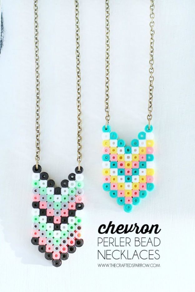 DIY perler bead crafts - Chevron Perler Bead Necklaces - Easy Crafts With Perler Beads - Cute Accessories and Homemade Decor That Make Creative DIY Gifts - Plastic Melted Beads Make Cool Art for Walls, Jewelry and Things To Make When You are Bored #diy #crafts