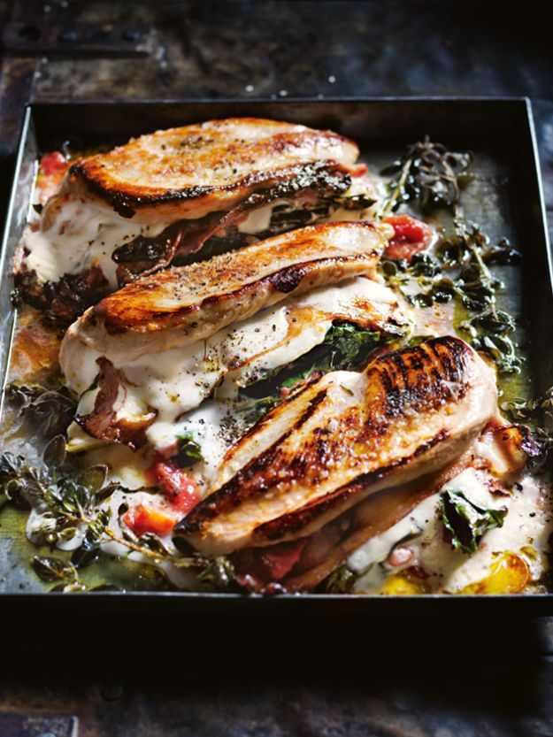 Chicken Breast Recipes - Chicken Breasts Filled With Silverbeet, Stracchino and Pancetta - Healthy, Easy Chicken Recipes for Dinner, Lunch, Parties and Quick Weeknight Meals - Boneless Chicken Breast Casserole Recipes, Oven Baked Ideas, Crockpot Chicken Breasts, Marinades for Grilled Foods, Salads, Shredded Chicken Tacos, Creamy Pasta, Keto and Low Carb, Mexican, Asian and Italian Food #chicken #recipes #healthy