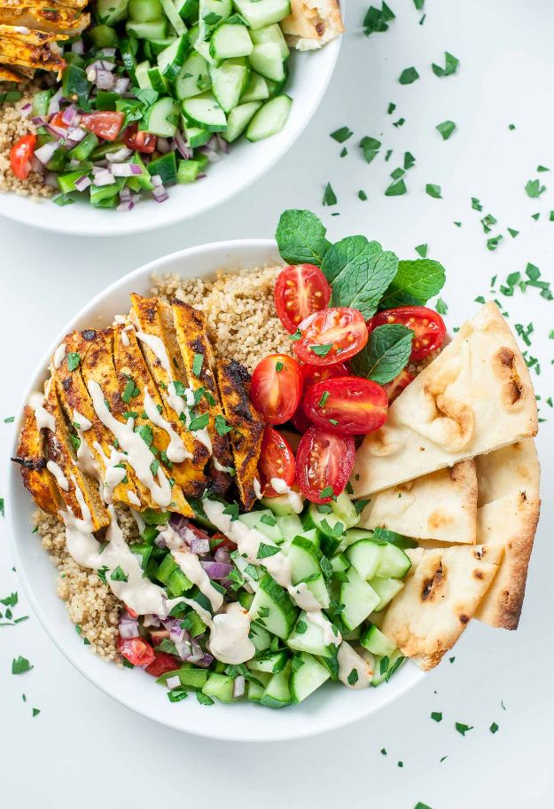 Easy Healthy Chicken Recipes - Chicken Shawarma Quinoa Bowls - Lunch and Dinner Ideas, Party Foods and Casseroles, Idea for the Grill and Salads- Chicken Breast, Baked, Roastedf and Grilled Chicken #recipes #healthy #chicken