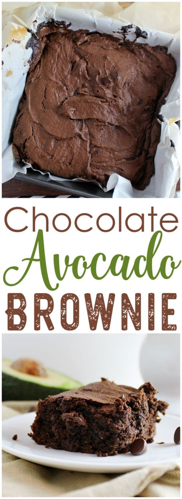 Avocado Recipes - Chocolate Avocado Brownies - Quick Avocado Toast, Eggs, Keto Guacamole, Dips, Salads, Healthy Lunches, Breakfast, Dessert and Dinners - Party Foods, Soups, Low Carb Salad Dressings and Smoothie http://diyjoy.com/avocado-recipes