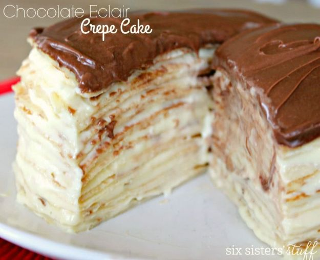 Chocolate Desserts and Recipe Ideas - Chocolate Eclair Crepe Cake - Easy Chocolate Recipes With Mint, Peanut Butter and Caramel - Quick No Bake Dessert Idea, Healthy Desserts, Cake, Brownies, Pie and Mousse - Best Fancy Chocolates to Serve for Two