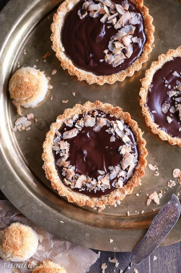 Chocolate Desserts and Recipe Ideas - Chocolate Ganache Tarts with Coconut Macaroon Crust - Easy Chocolate Recipes With Mint, Peanut Butter and Caramel - Quick No Bake Dessert Idea, Healthy Desserts, Cake, Brownies, Pie and Mousse - Best Fancy Chocolates to Serve for Two, A Crowd, and Simple Snacks http://diyjoy.com/chocolate-dessert-recipes
