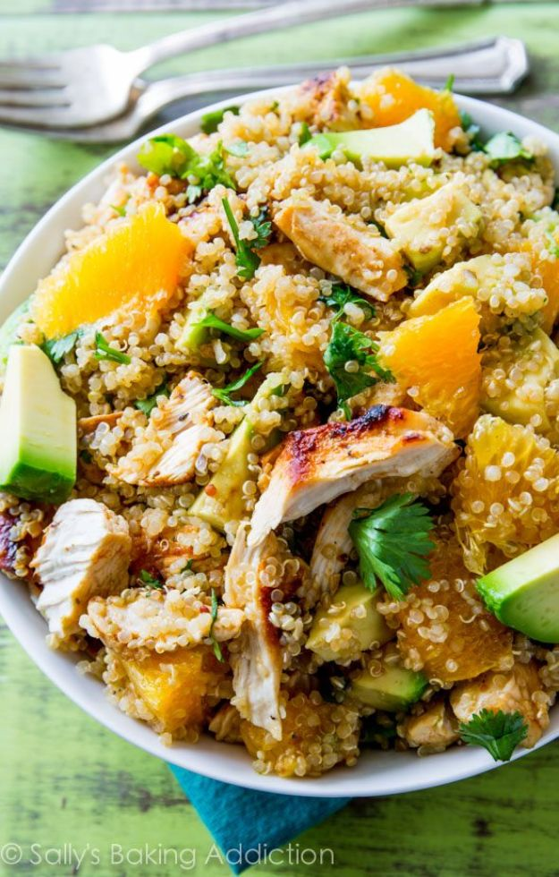Easy Healthy Chicken Recipes - Citrus Chicken Quinoa Salad - Lunch and Dinner Ideas, Party Foods and Casseroles, Idea for the Grill and Salads- Chicken Breast, Baked, Roastedf and Grilled Chicken #recipes #healthy #chicken