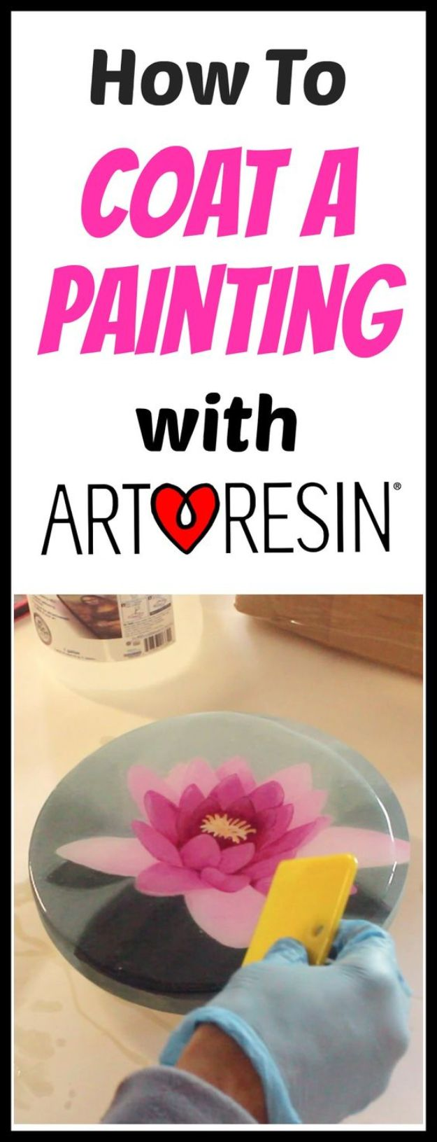 DIY Resin Casting Crafts - Coat An Acrylic Painting With Resin - Homemade Resin and Epoxy Craft Projects and Ideas - How to Make Resin Jewelry - Use Silicon Molds to Make Paper Weights, Creative Christmas Ornaments and Crafts to Make and Sell - Flowers, Pictures, Clocks, Tabletop, Inspiration for Handmade Jewelry and Items to Sell on Etsy #crafts