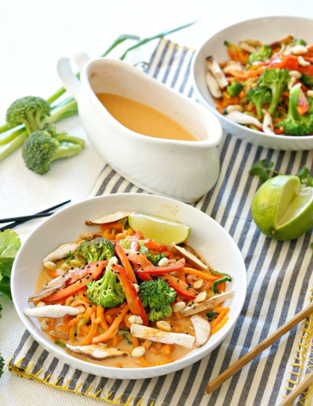 Veggie Noodle Recipes - Coconut Curry Veggie Noodle Bowl - How to Cook With Veggie Noodles - Healthy Pasta Recipe Ideas - How to Make Veggie Noodles With Carrots and Zucchini - Vegan, Vegetarian , Keto and Low Carb Dishes for Your Diet - Meatballs, Chicken, Cheese, Asian Stir Fry, Salad and Raw Preparations #veggienoodles #recipes #keto #lowcarb #ketorecipes #veggies #healthyrecipes #veganrecipes
