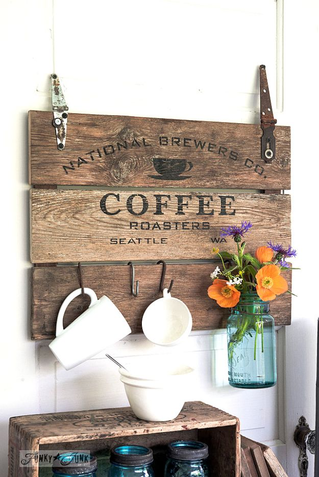 Cheap DIY Home Decor Ideas - Coffee Crate Lid Sign - Inexpensive Home Decorations to Make From The Dollar Store and Dollar Tree - Inexpensive Budget Friendly Wall Art, Furniture, Table Accents, Rugs, Pillows, Bedding and Chairs - Candles, Crafts To Make for Your Bedroom, Pretty Signs and Art, Linens, Storage and Organizing Ideas for Apartments