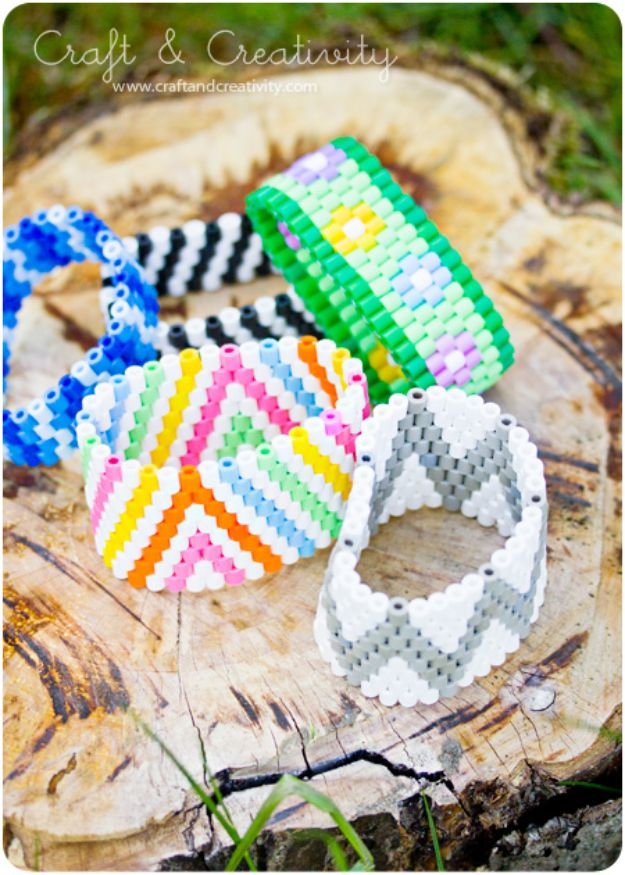 DIY perler bead crafts - Colorful Cuffs - Easy Crafts With Perler Beads - Cute Accessories and Homemade Decor That Make Creative DIY Gifts - Plastic Melted Beads Make Cool Art for Walls, Jewelry and Things To Make When You are Bored #diy #crafts