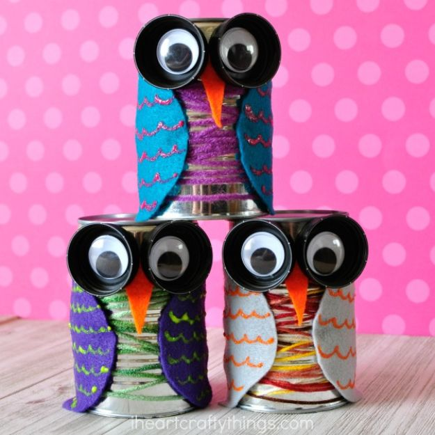 Fun Fall Crafts for Kids - Colorful Tin Can Owl Craft - Cool Crafts Ideas for Kids to Make With Paper, Glue, Leaves, Corn Husk, Pumpkin and Glitter - Halloween and Thanksgiving - Children Love Making Art, Paintings, Cards and Fall Decor - Placemats, Place Cards, Wall Art , Party Food and Decorations for Toddlers, Boys and Girls http://diyjoy.com/fun-fall-crafts-kids