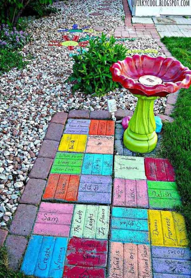 DIY Ideas With Bricks - Colorful Yard Art - Home Decor and Creative Do It Yourself Projects to Make With Bricks - Ideas for Patio, Walkway, Fireplace, Firepit, Mantle, Grill and Art - Inexpensive Decoration Tutorials With Step By Step Instruction for Brick DIY http://diyjoy.com/diy-ideas-bricks