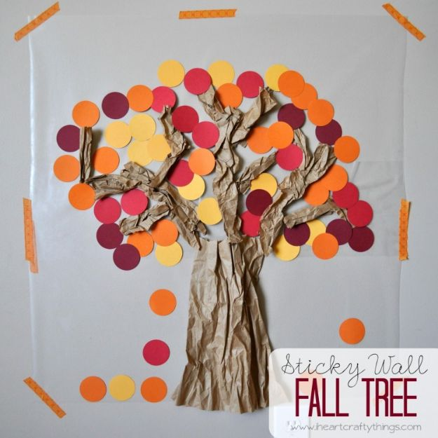 Fun Fall Crafts for Kids - Contact Paper Sticky Wall Fall Tree - Cool Crafts Ideas for Kids to Make With Paper, Glue, Leaves, Corn Husk, Pumpkin and Glitter - Halloween and Thanksgiving - Children Love Making Art, Paintings, Cards and Fall Decor - Placemats, Place Cards, Wall Art , Party Food and Decorations for Toddlers, Boys and Girls http://diyjoy.com/fun-fall-crafts-kids