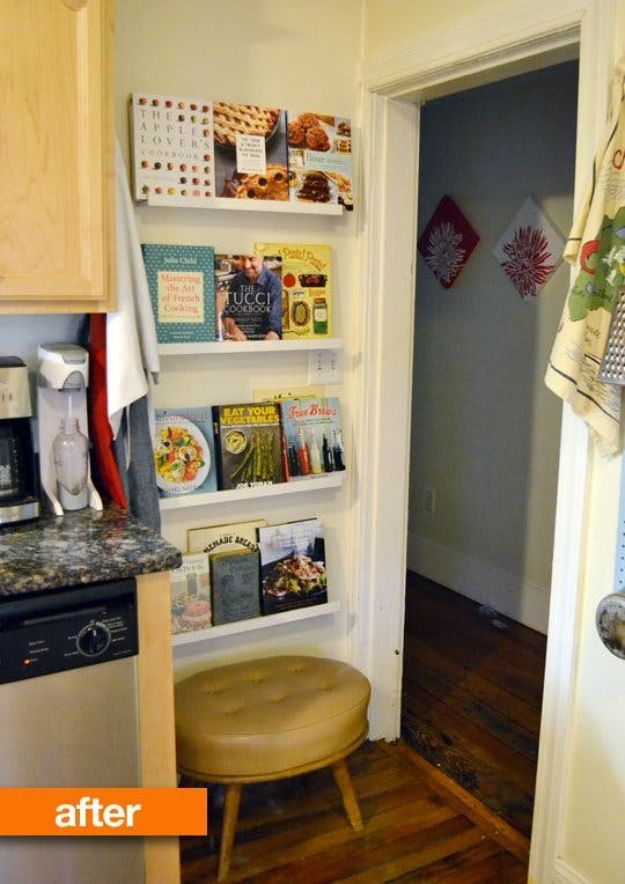 IKEA Hacks for Your Kitchen - Cookbook Display - DIY Furniture and Kitchen Accessories Made from IKEA - Kitchen Islands, Cabinets, Table, Pantry Organization, Storage, Shelves and Counter Solutions - Bar, Buffet and Entertaining Ideas - Easy Projects With Step by Step Tutorials and Instructions to Hack IKEA items http://diyjoy.com/ikea-hacks-kitchen #ikeahacks #diyhomedecor #diyideas #diykitchen