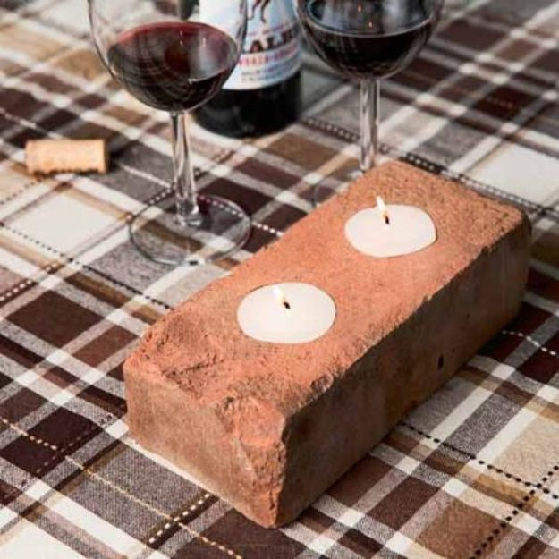 DIY Ideas With Bricks - Craft a Tea-Light Holder - Home Decor and Creative Do It Yourself Projects to Make With Bricks - Ideas for Patio, Walkway, Fireplace, Firepit, Mantle, Grill and Art - Inexpensive Decoration Tutorials With Step By Step Instruction for Brick DIY #diy #homeimprovement