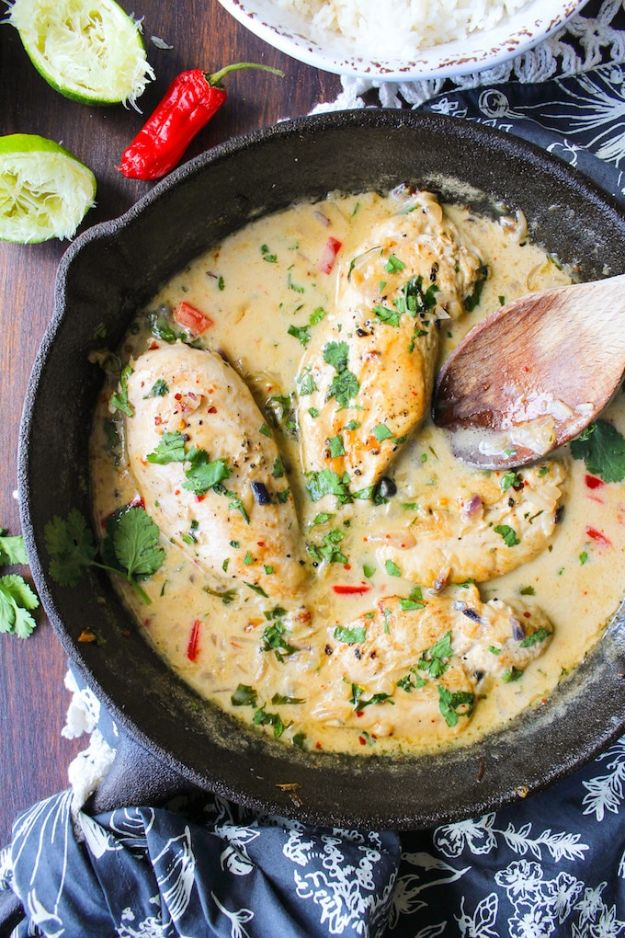 Easy Recipes With Chicken- Creamy Coconut Lime Chicken Breasts - Healthy Chicken Recipes - Quick Recipes for Dinner - Easy Thai Recipe With Chicken