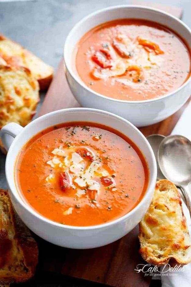 Soup Recipes - Creamy Roasted Tomato Basil Soup - Healthy Soups and Recipe Ideas - Easy Slow Cooker Dishes, Soup Recipe for Chicken, Sausage, With Ground Beef, Potato, Vegetarian, Mexican and Asian Varieties - Creamy Soups for Winter and Fall - Low Carb and Keto Meals - Quick Bean Soup and Copycat Recipes http://diyjoy.com/soup-recipes
