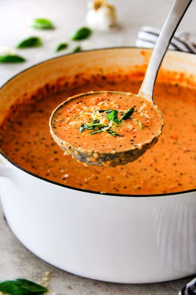 Soup Recipes - Creamy Tomato Basil Soup - Healthy Soups and Recipe Ideas - Easy Slow Cooker Dishes, Soup Recipe for Chicken, Sausage, With Ground Beef, Potato, Vegetarian, Mexican and Asian Varieties - Creamy Soups for Winter and Fall - Low Carb and Keto Meals - Quick Bean Soup and Copycat Recipes #soup #recipes