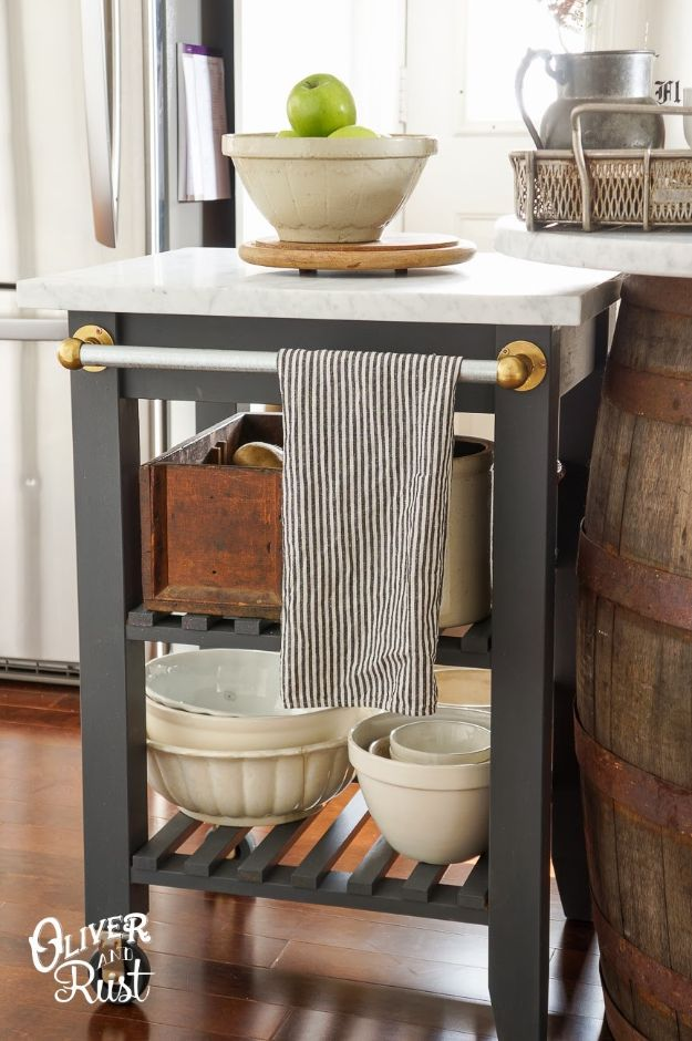 IKEA Hacks for Your Kitchen - Create Extra Counter Space with a Rolling Island - DIY Furniture and Kitchen Accessories Made from IKEA - Kitchen Islands, Cabinets, Table, Pantry Organization, Storage, Shelves and Counter Solutions - Bar, Buffet and Entertaining Ideas - Easy Projects With Step by Step Tutorials and Instructions to Hack IKEA items #ikeahacks #diyhomedecor #diyideas #diykitchen #ikea #ikeahacks #kitchen