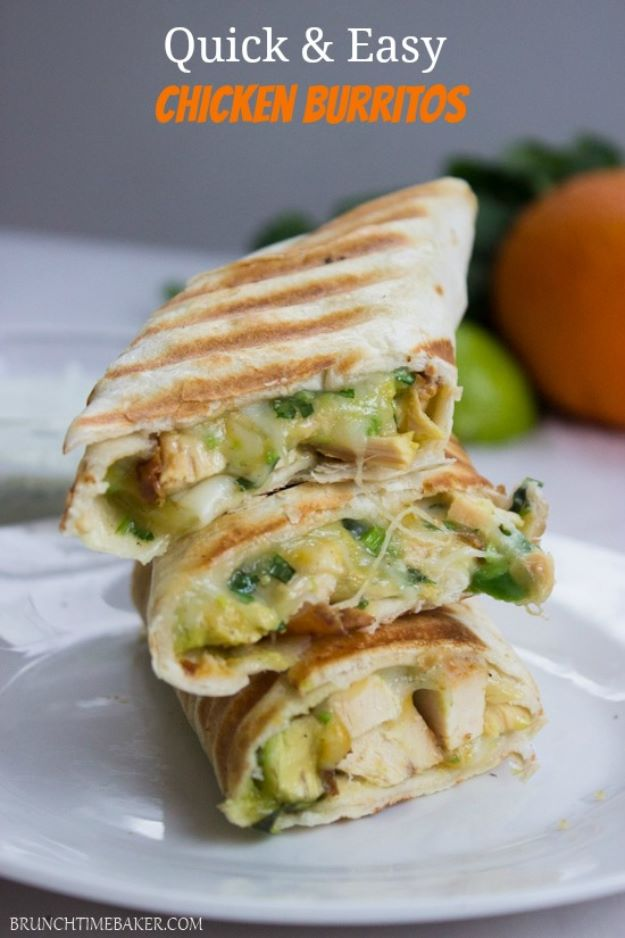 Avocado Recipes - Crispy Chicken and Avocado Burrito Wraps - Quick Avocado Toast, Eggs, Keto Guacamole, Dips, Salads, Healthy Lunches, Breakfast, Dessert and Dinners - Party Foods, Soups, Low Carb Salad Dressings and Smoothie http://diyjoy.com/avocado-recipes