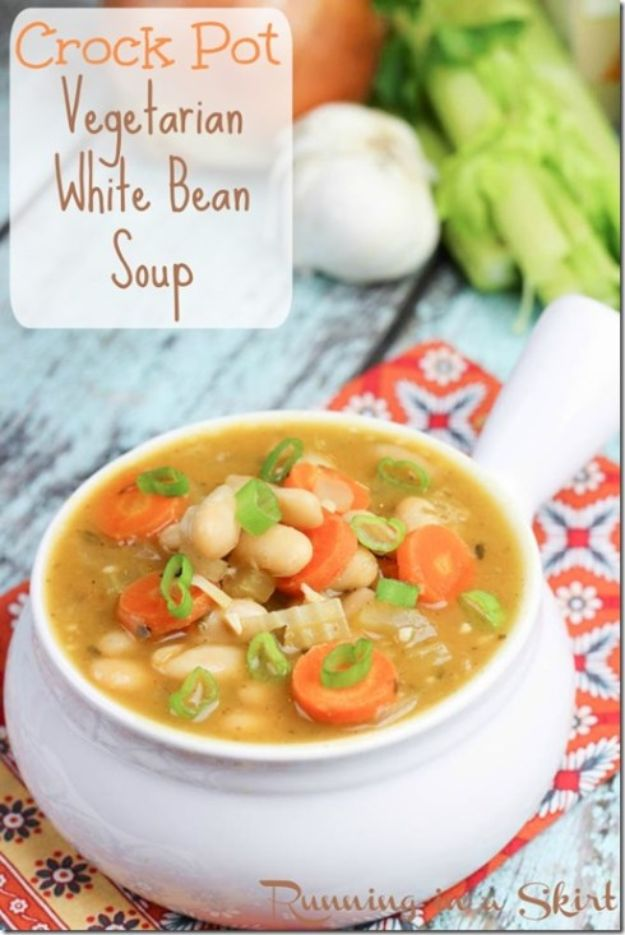 Soup Recipes - Crock Pot Vegetarian White Bean Soup - Healthy Soups and Recipe Ideas - Easy Slow Cooker Dishes, Soup Recipe for Chicken, Sausage, With Ground Beef, Potato, Vegetarian, Mexican and Asian Varieties - Creamy Soups for Winter and Fall - Low Carb and Keto Meals - Quick Bean Soup and Copycat Recipes #soup #recipes