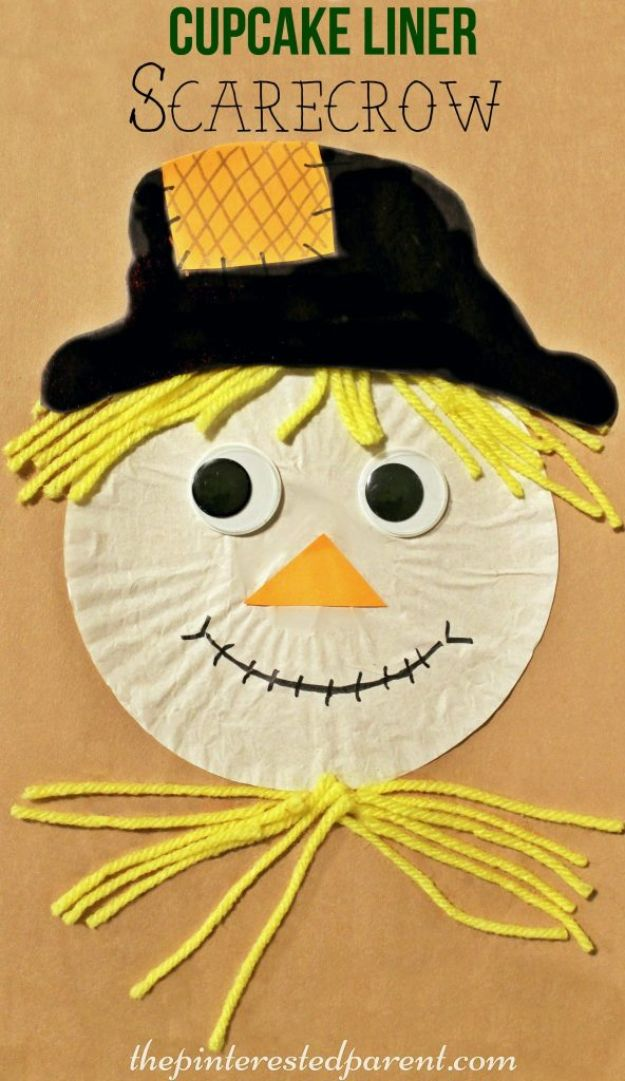 Fun Fall Crafts for Kids - Cupcake Liner Scarecrow - Cool Crafts Ideas for Kids to Make With Paper, Glue, Leaves, Corn Husk, Pumpkin and Glitter - Halloween and Thanksgiving - Children Love Making Art, Paintings, Cards and Fall Decor - Placemats, Place Cards, Wall Art , Party Food and Decorations for Toddlers, Boys and Girls http://diyjoy.com/fun-fall-crafts-kids