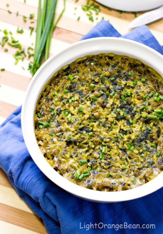 Best Casserole Recipes - Curried Spinach Rice Lentil Bake - Healthy One Pan Meals Made With Chicken, Hamburger, Potato, Pasta Noodles and Vegetable - Quick Casseroles Kids Like - Breakfast, Lunch and Dinner Options - Mexican, Italian and Homestyle Favorites - Party Foods for A Crowd and Potluck Dishes http://diyjoy.com/best-casserole-recipes