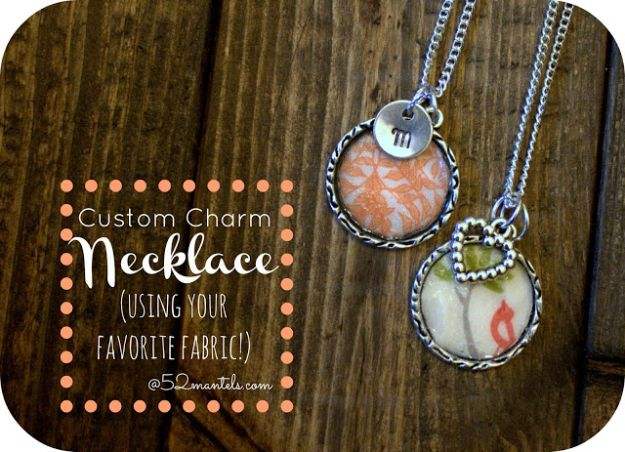 Cheap DIY Gift Ideas - Custom Fabric Charm Necklace - List of Handmade Gifts on A Budget and Inexpensive Christmas Presents - Do It Yourself Gift Idea for Family and Friends, Mom and Dad, For Guys and Women, Boyfriend, Girlfriend, BFF, Kids and Teens - Dollar Store and Dollar Tree Crafts, Home Decor, Room Accessories and Fun Things to Make At Home #diygifts #christmas #giftideas #diy