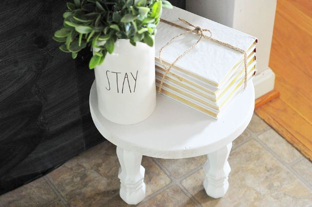 DIY Home Decor On A Budget - DIY $15 Milk Stool - Cheap Home Decorations to Make From The Dollar Store and Dollar Tree - Inexpensive Budget Friendly Wall Art, Furniture, Table Accents, Rugs, Pillows, Bedding and Chairs - Candles, Crafts To Make for Your Bedroom, Pretty Signs and Art, Linens, Storage and Organizing Ideas for Apartments #diydecor #decoratingideas #cheaphomedecor