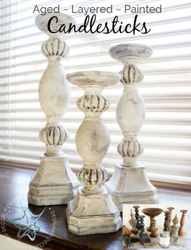 DIY Home Decor On A Budget - DIY Aged Layered Painted Candlesticks - Cheap Home Decorations to Make From The Dollar Store and Dollar Tree - Inexpensive Budget Friendly Wall Art, Furniture, Table Accents, Rugs, Pillows, Bedding and Chairs - Candles, Crafts To Make for Your Bedroom, Pretty Signs and Art, Linens, Storage and Organizing Ideas for Apartments http://diyjoy.com/cheap-diy-home-decor