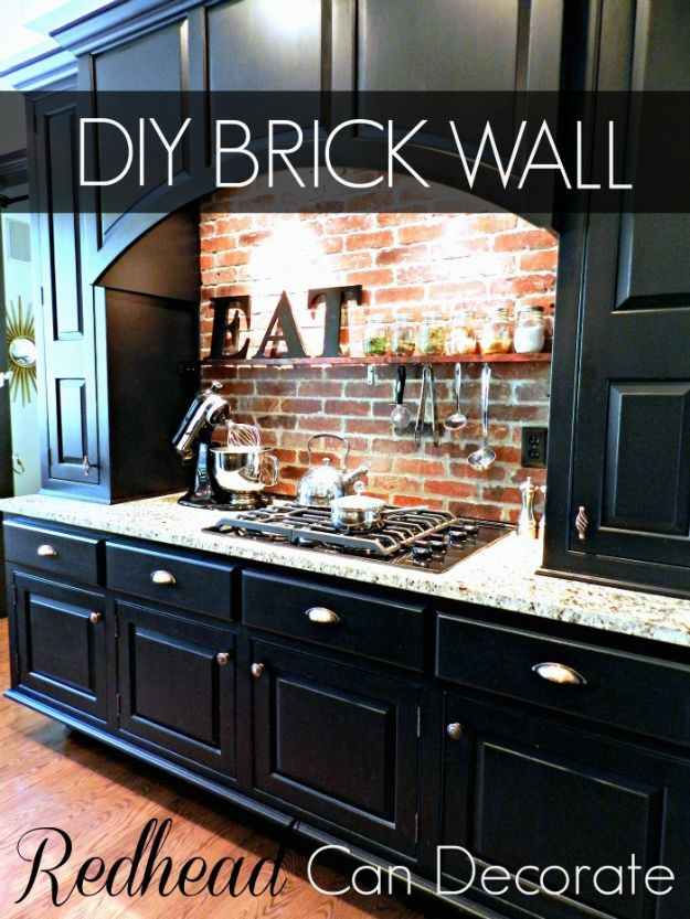 DIY Ideas With Bricks - DIY Brick Wall - Home Decor and Creative Do It Yourself Projects to Make With Bricks - Ideas for Patio, Walkway, Fireplace, Firepit, Mantle, Grill and Art - Inexpensive Decoration Tutorials With Step By Step Instruction for Brick DIY http://diyjoy.com/diy-ideas-bricks