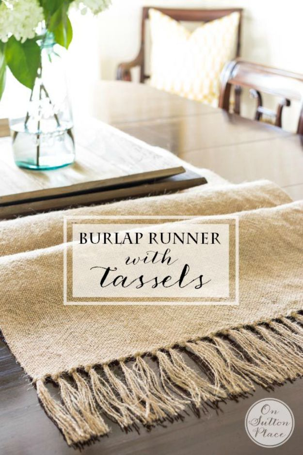 DIY Home Decor On A Budget - DIY Burlap Runner With Tassels - Cheap Home Decorations to Make From The Dollar Store and Dollar Tree - Inexpensive Budget Friendly Wall Art, Furniture, Table Accents, Rugs, Pillows, Bedding and Chairs - Candles, Crafts To Make for Your Bedroom, Pretty Signs and Art, Linens, Storage and Organizing Ideas for Apartments http://diyjoy.com/cheap-diy-home-decor