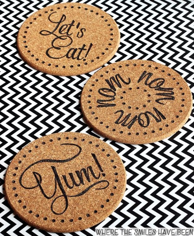 IKEA Hacks for Your Kitchen - DIY Burned IKEA Cork Trivets - DIY Furniture and Kitchen Accessories Made from IKEA - Kitchen Islands, Cabinets, Table, Pantry Organization, Storage, Shelves and Counter Solutions - Bar, Buffet and Entertaining Ideas - Easy Projects With Step by Step Tutorials and Instructions to Hack IKEA items #ikea #ikeahacks #diyhomedecor #diyideas #diykitchen