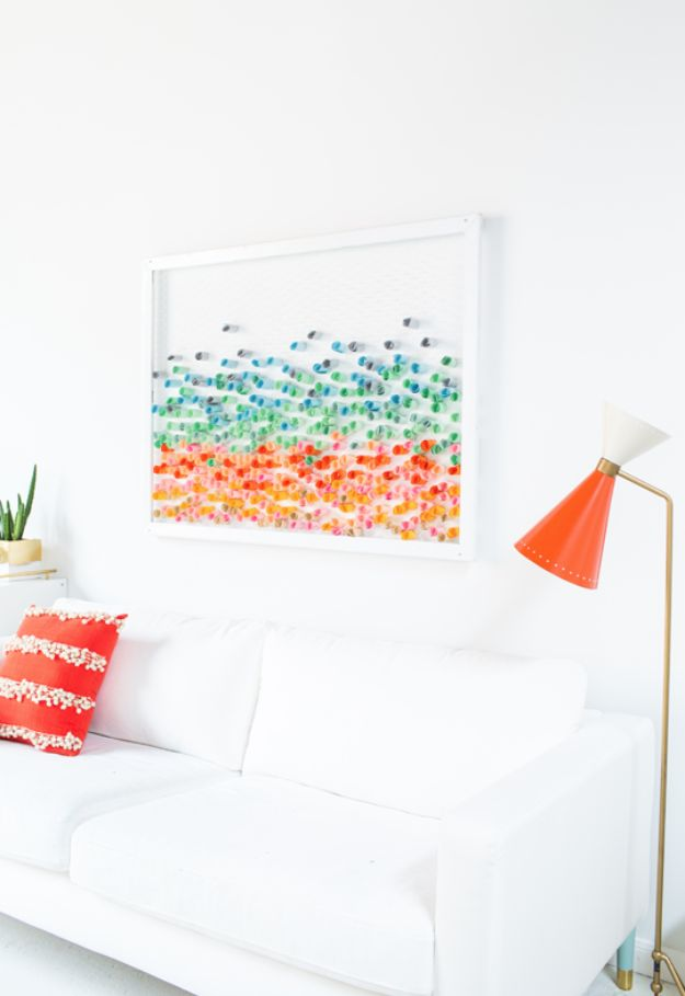 Paper Crafts DIY - DIY Chicken Wire and Paper Wall Art - Papercraft Tutorials and Easy Projects for Make for Decoration and Gift IDeas - Origami, Paper Flowers, Heart Decoration, Scrapbook Notions, Wall Art, Christmas Cards, Step by Step Tutorials for Crafts Made From Papers http://diyjoy.com/paper-crafts-diy